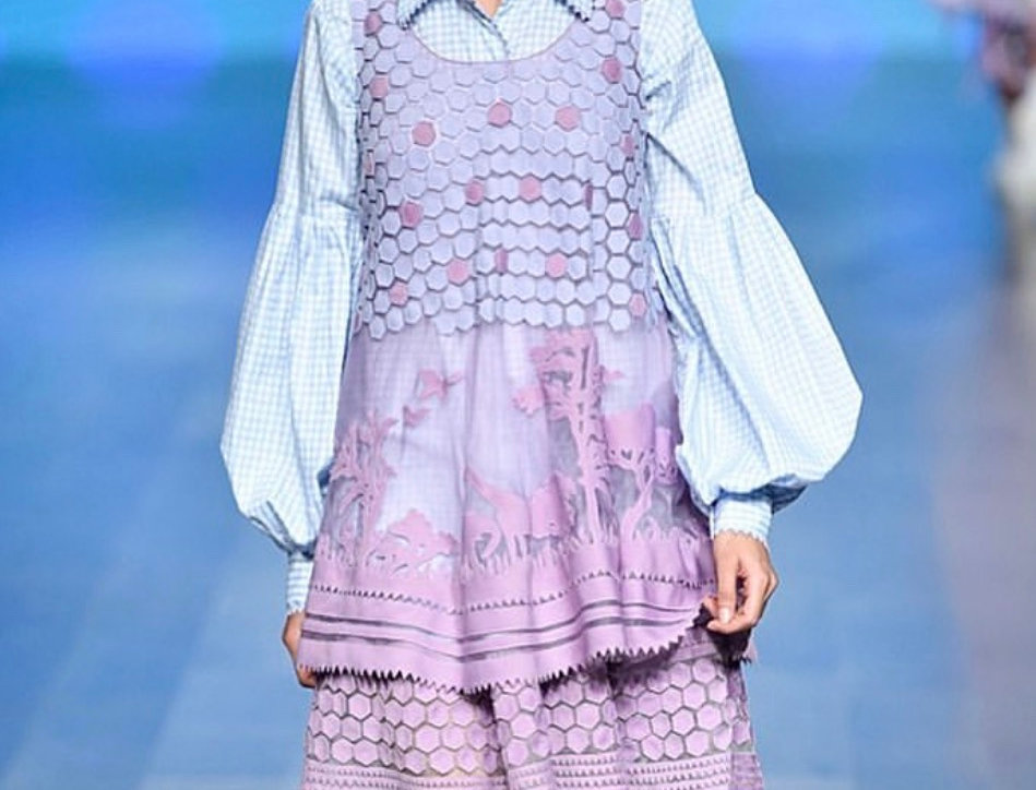 HEXA Layered Organza Dress with Animal Motifs