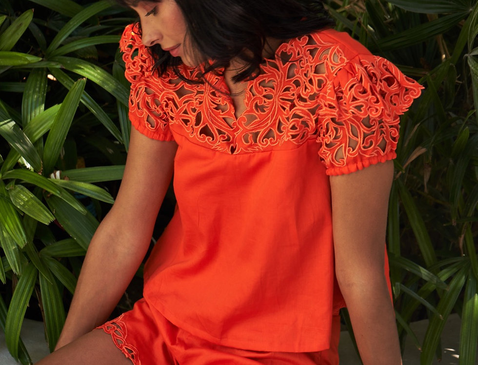 SUNDAY handcrafted cutwork top with shorts set