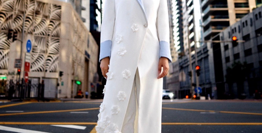BOYA Long Trench Coat with Floral Texture and straight fit pants