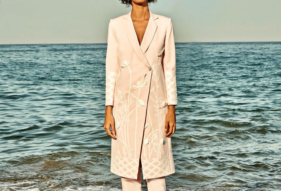 BREE Dusky-pink 3D appliqué suit