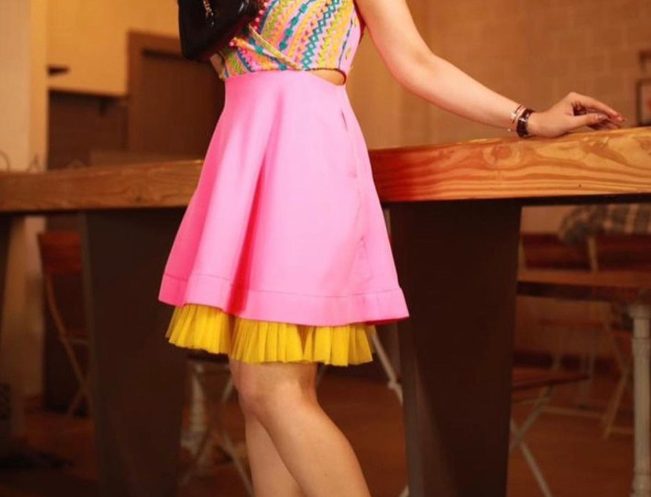 SOUL hot pink and neon appliqué dress with cutouts