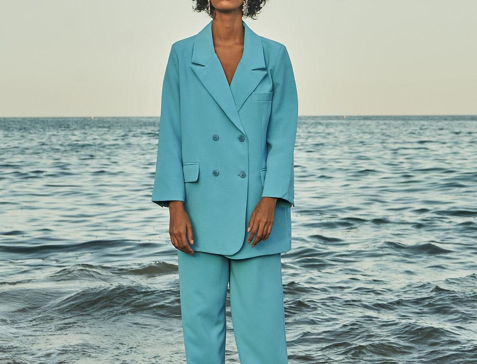 HAZEL Turquoise oversized pantsuit