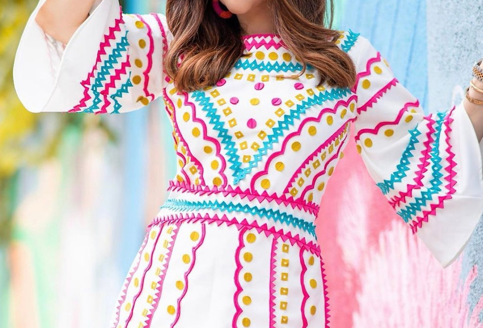 RIO Appliqué Dress with Bell sleeves