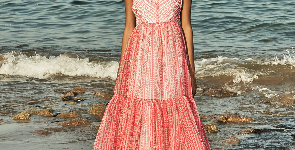 CUBA block-printed panelled organza dress