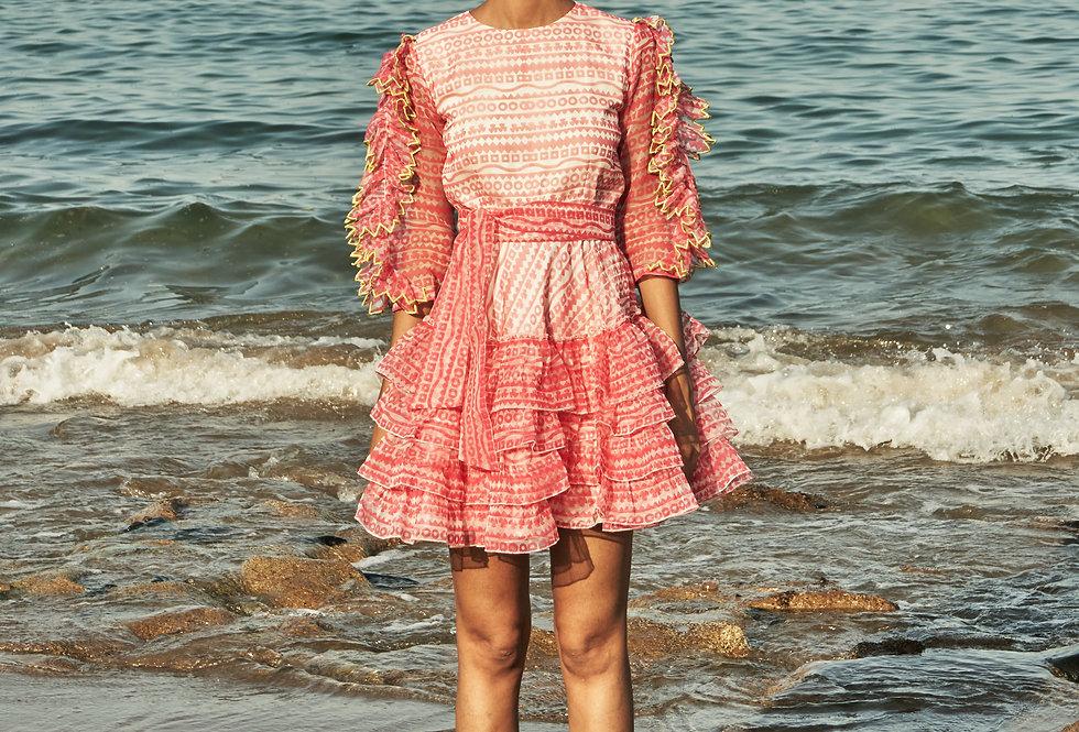 ATHENA Geometric-printed organza dress