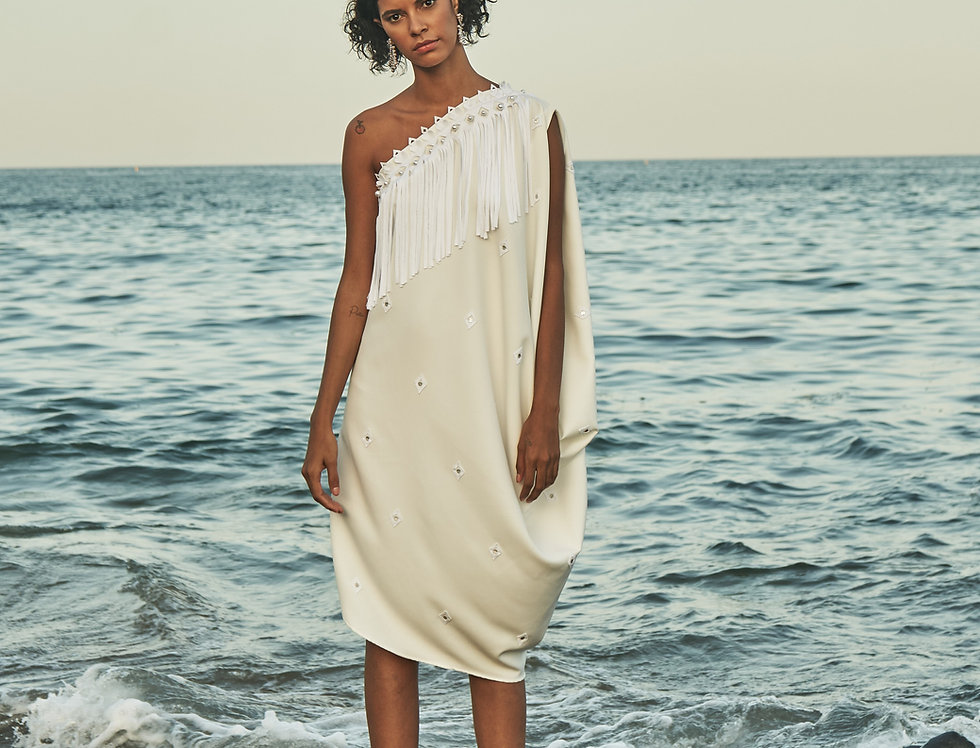 SWAY one-shoulder dress with appliqué motifs