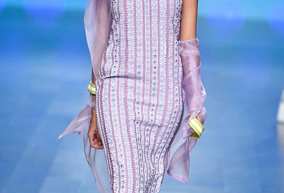 PINE Lavender Handcrafted Halter neck Dress with fringe