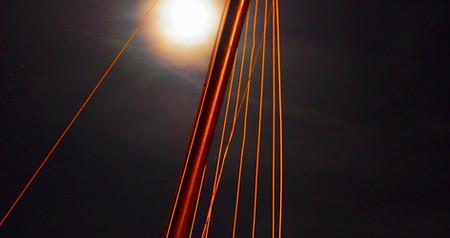 Port Bretagne Locquirec mât bateau lune nuit