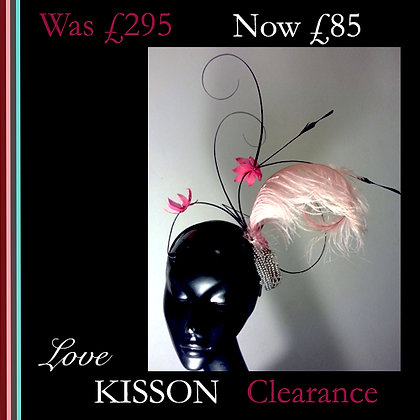 Pink and Black Hat fascinator -clearance