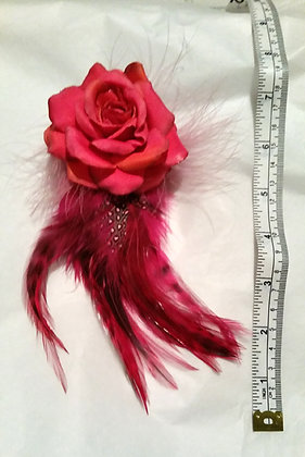 Pink & Orange Flower feather accessory