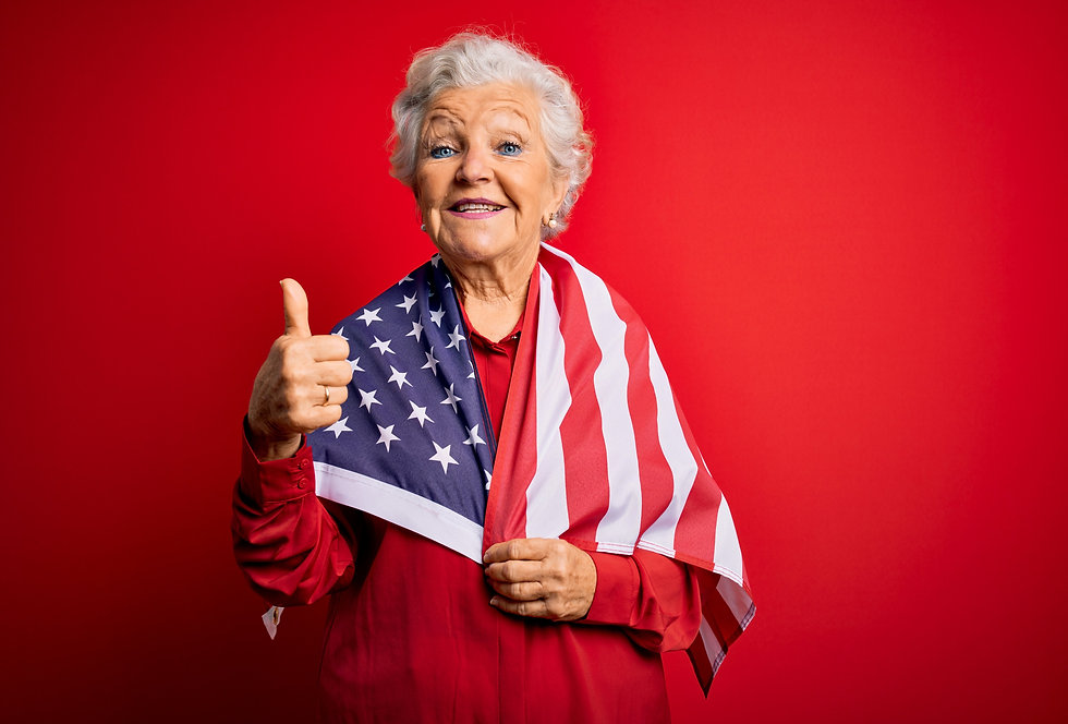 Senior%20beautiful%20grey-haired%20patriotic%20woman%20wearing%20united%20states%20flag%20