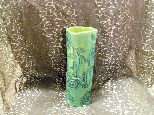 Green Rose Patterned Vase