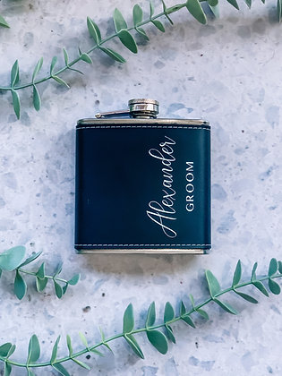 Black Faux Leather Hip Flask