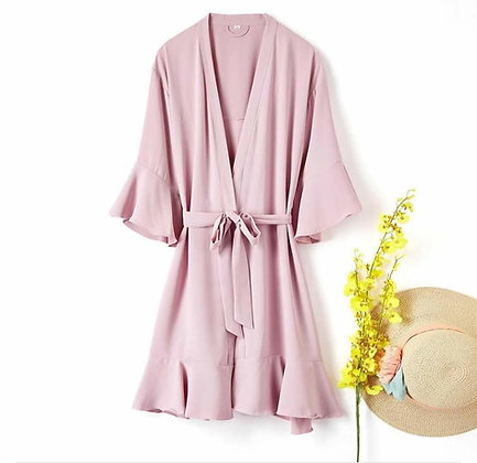 Alisha Frilled Satin Robe