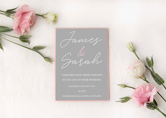 Grey & Pink Invite Set