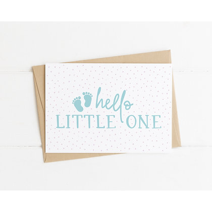 Hello Little One New Baby Card - Blue