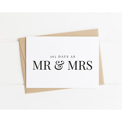365 Days as Mr & Mrs Card