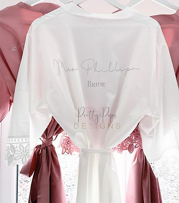 Satin Alisha Robe with script text