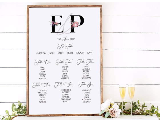 Floral Initial Table Plan