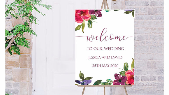 Bright Floral Welcome to our Wedding Sign