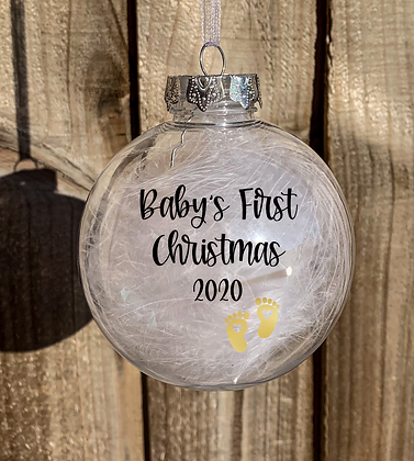 Baby's First Christmas Feather Filled Bauble