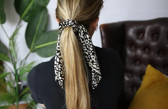 Black Leopard Scrunchie Tie