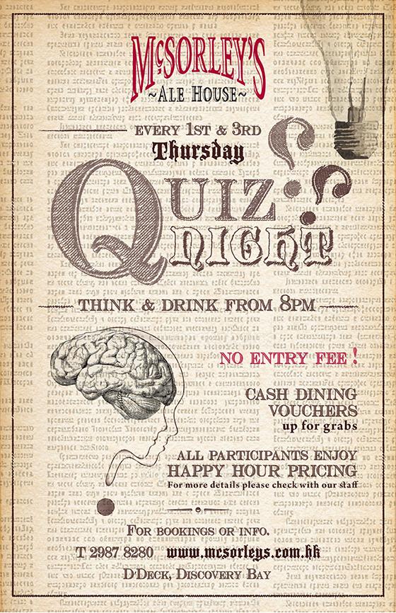 [1st & 3rd Thursday] Quiz Night