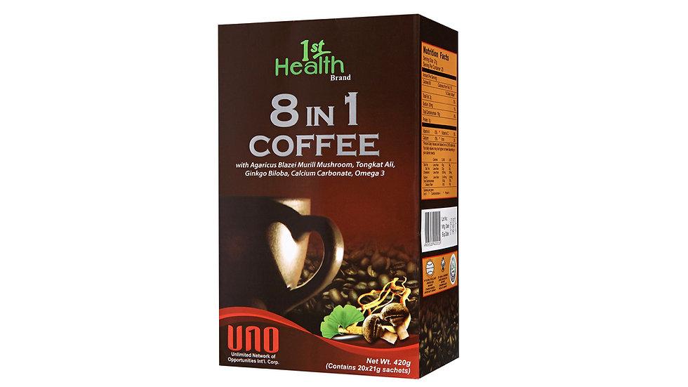 1ST HEALTH BRAND 8 IN 1 COFFEE AGARICUS MUSHROOM, TONGKAT ALI, GINKGO BILOBA, OM