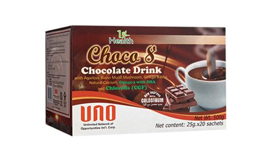 1ST HEALTH BRAND CHOCO 8 CHOCOLATE DRINK WITH AGARICUS MUSHROOM, GINKGO  BILOBA