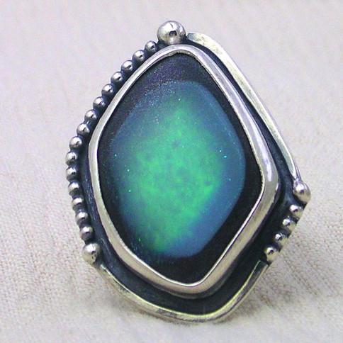 green deepset dichro sterling ring