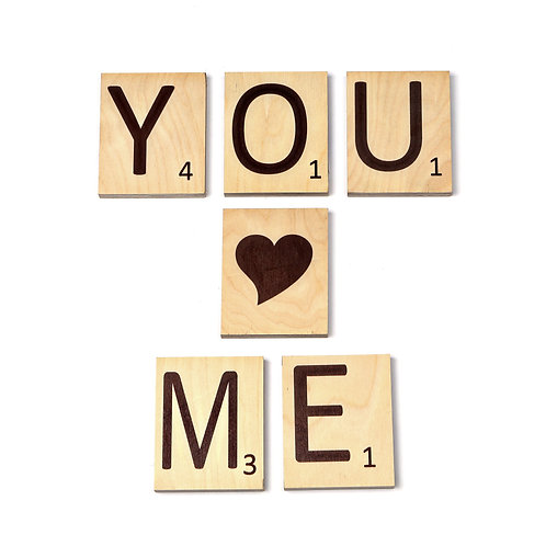 YOU ♥ME אותיות עץ