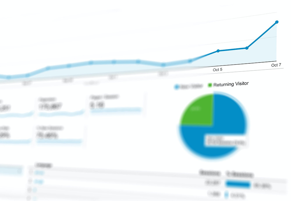 A web traffic graph tracking new and returning visitors.