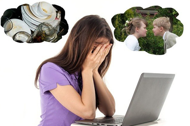 Women at laptop stressing over work, dirty dishes and young children