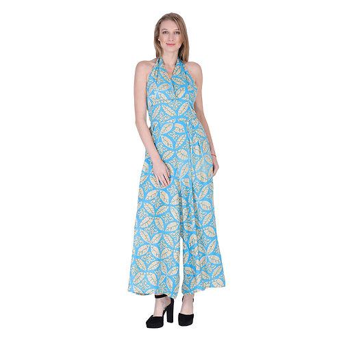 Blue Flower Long Jumpsuit