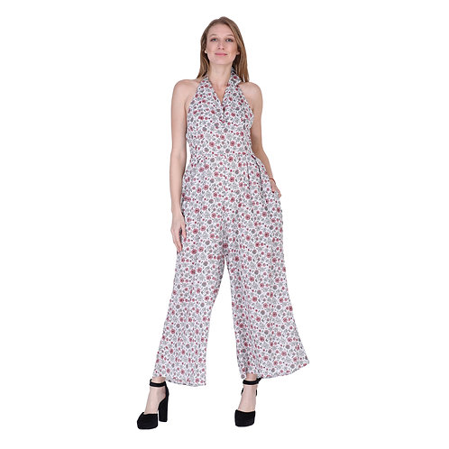 White Flower Printed Long Jumpsuit