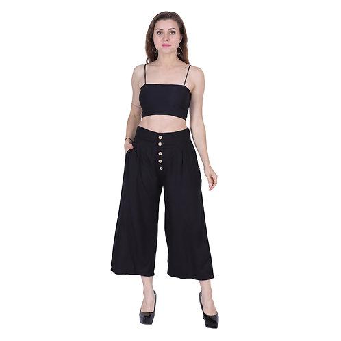 Black Color Rayon Trouser
