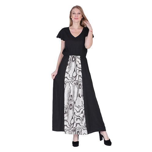 Black Color Printed Long Dress