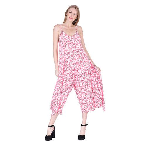 Pink Flower Long Jumpsuit