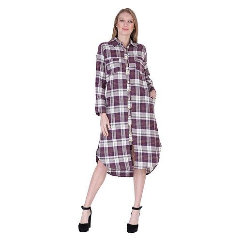 Rayon Print Mid Length Short Dress
