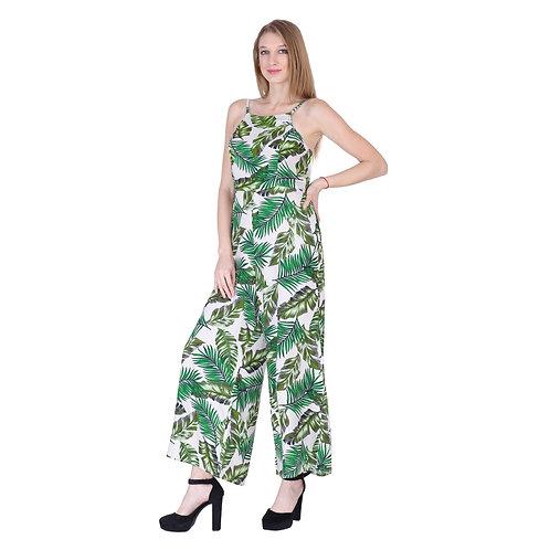 Green Leaves Printed Long Jumpsuit