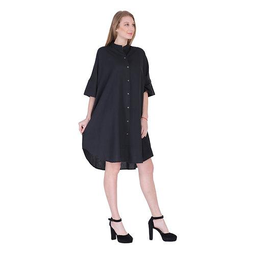 Black Color Mid Length Linen