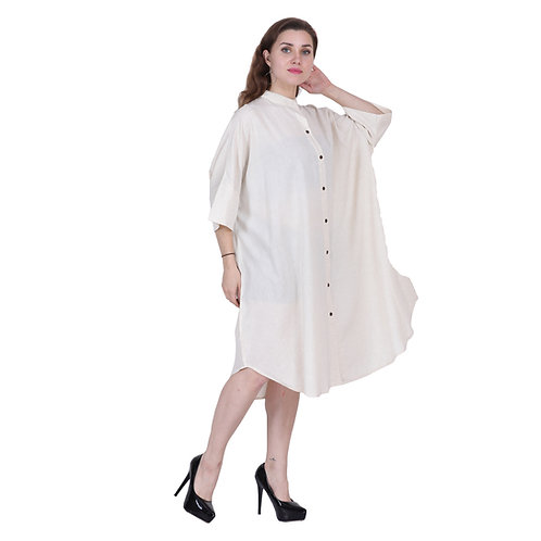 White Color Mid Length Linen