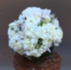 FIF White ball flower arrangement Angela & Gabriel's Flowers Inc