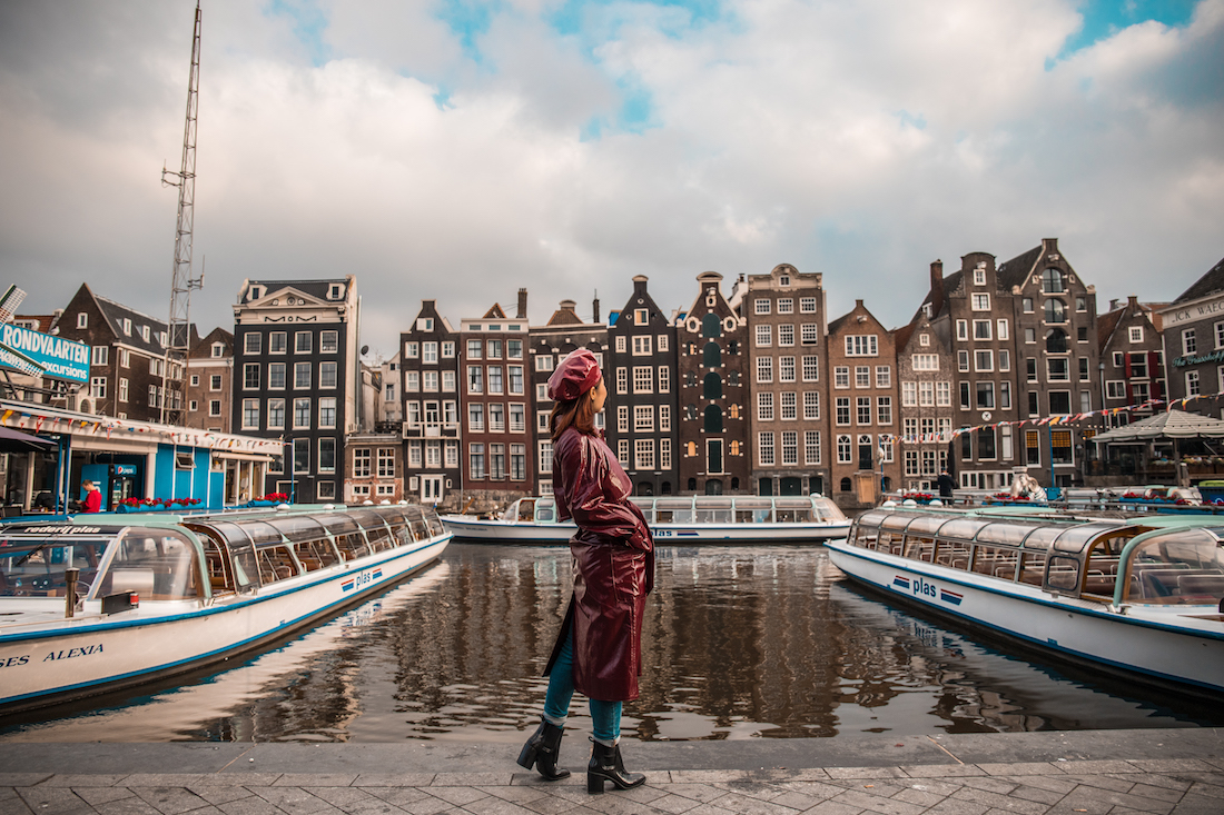Amsterdam buildings and a girl