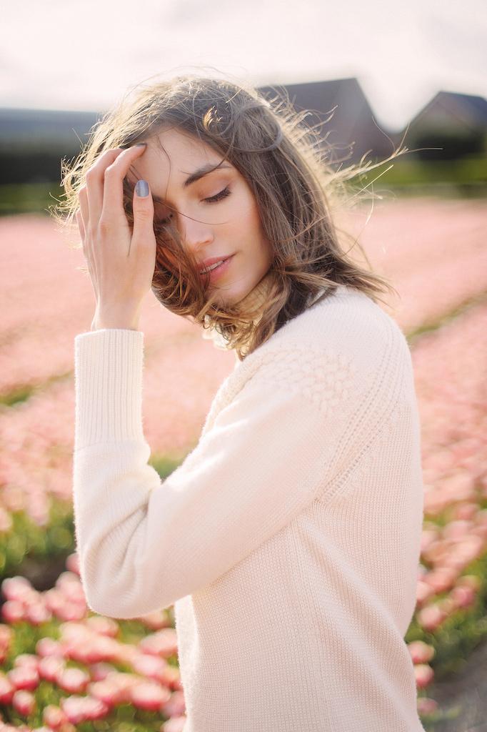 Portrait in flower fields