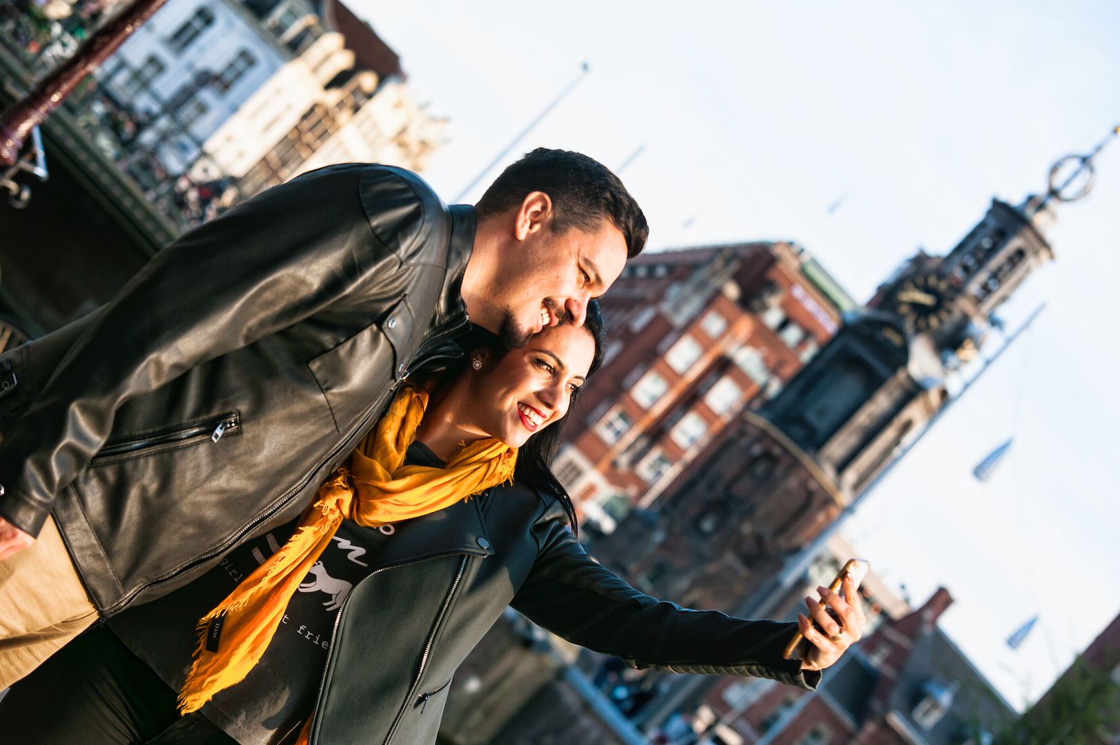 Couple on vacation in Amsterdam