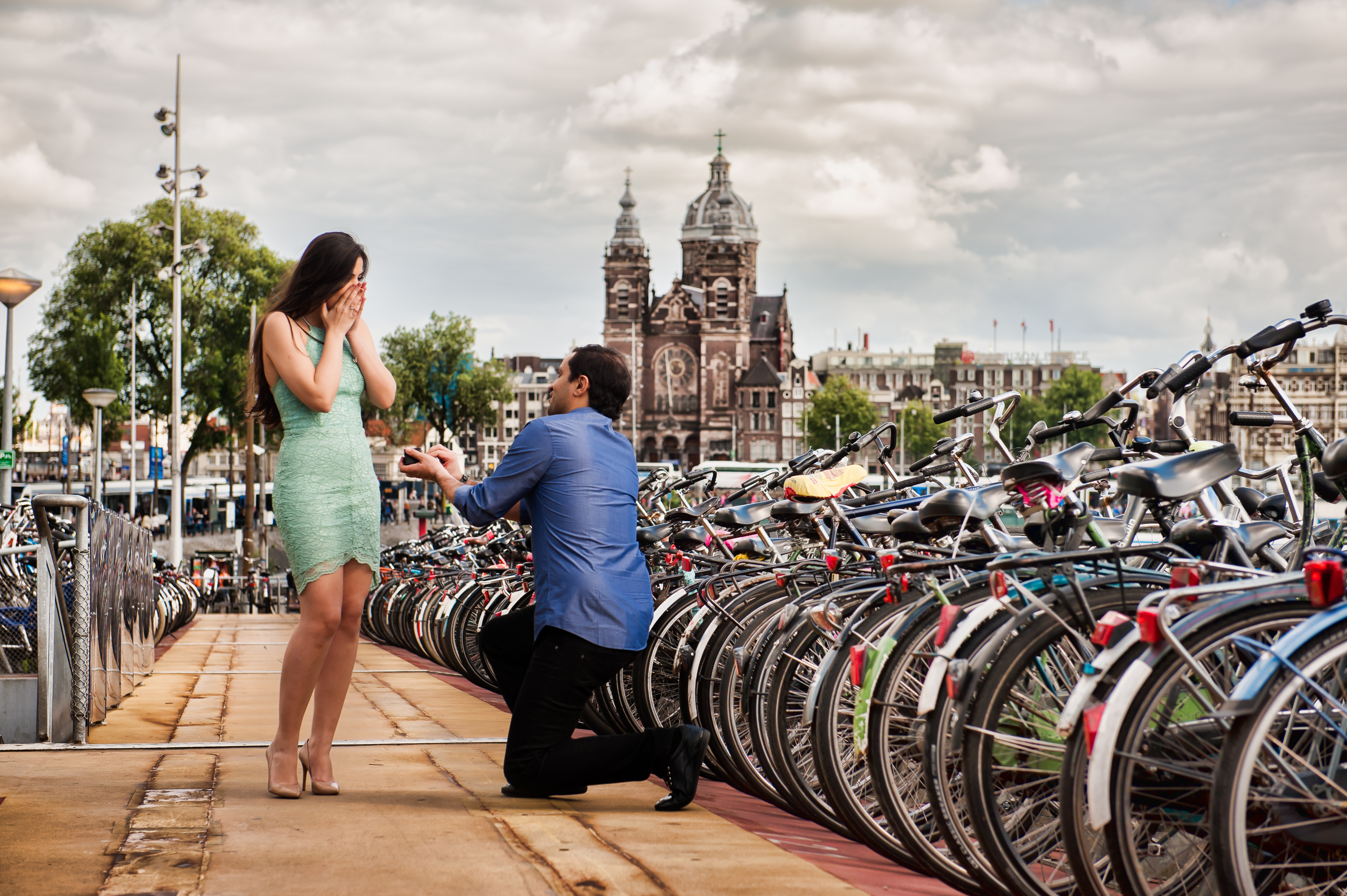 Couple and the bikes in Amsterdam