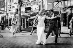 Dancing married couple in Amsterdam