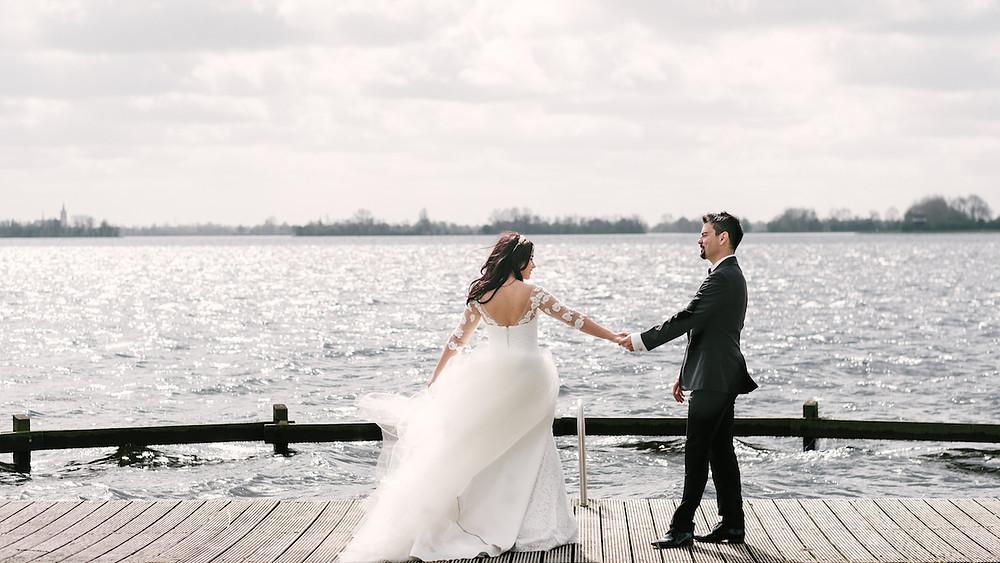 Beautiful wedding shoot by the lake outside Amsterdam.