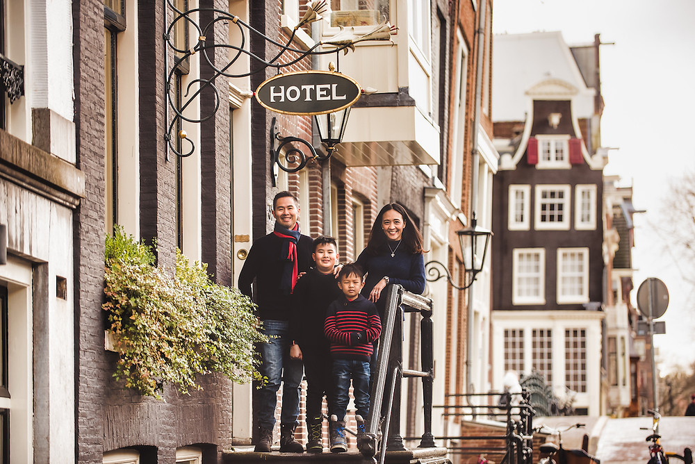 Family visiting Amsterdam